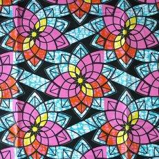 アフリカン プリント布 パーニュ 115×90 カットオフ(ピンク 花 )