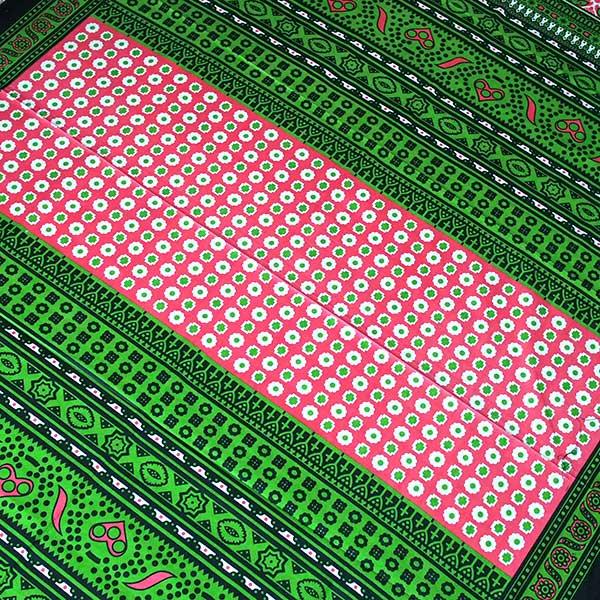 アフリカ ケニア カンガ キストゥ 110×150(グリーン×ピンク)