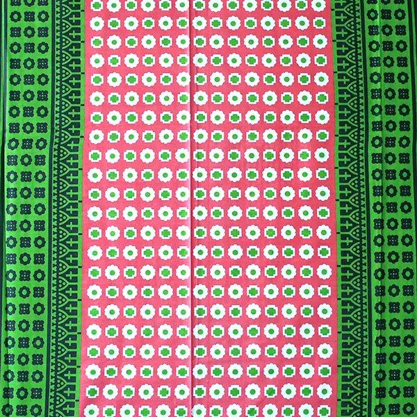 アフリカ ケニア カンガ キストゥ 110×150(グリーン×ピンク)【画像2】