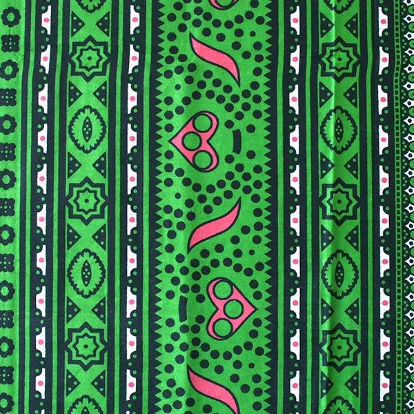 アフリカ ケニア カンガ キストゥ 110×150(グリーン×ピンク)【画像3】