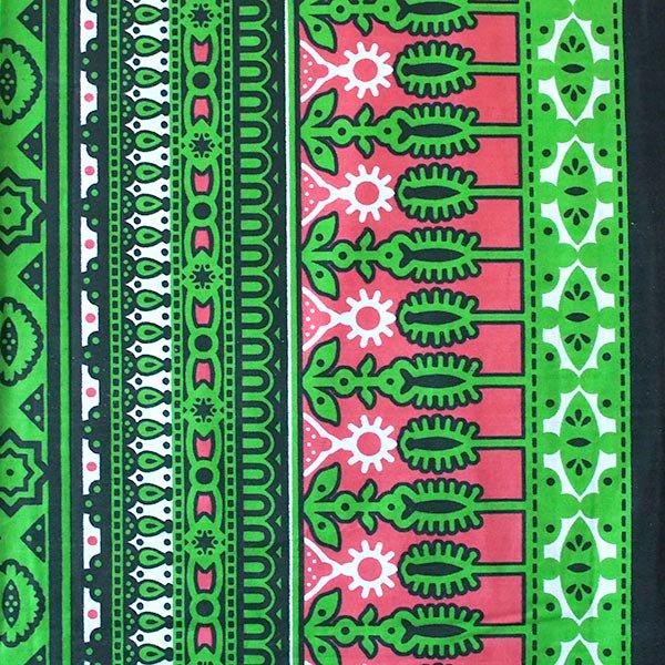 アフリカ ケニア カンガ キストゥ 110×150(グリーン×ピンク)【画像4】