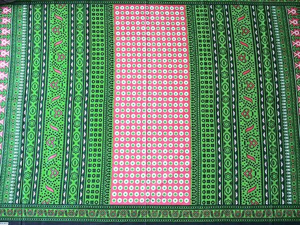 アフリカ ケニア カンガ キストゥ 110×150(グリーン×ピンク)【画像6】