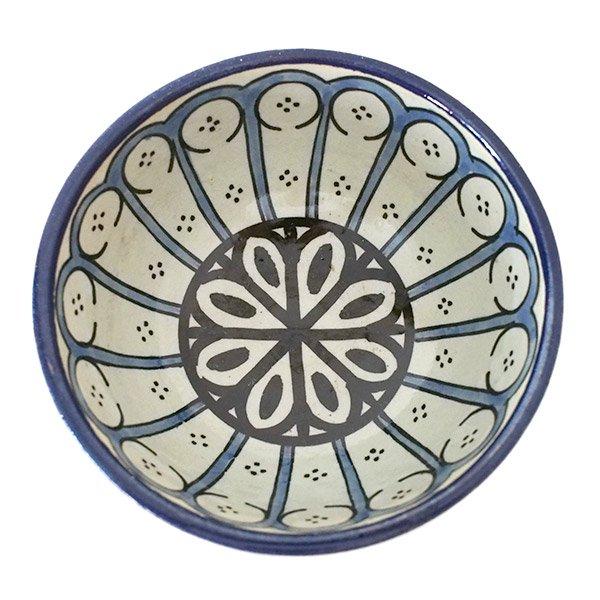 モロッコ フェズ 陶器 ボウル  大(花 ブルー 直径 約14cm)【画像2】