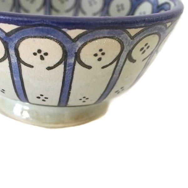 モロッコ フェズ 陶器 ボウル  大(花 ブルー 直径 約14cm)【画像3】