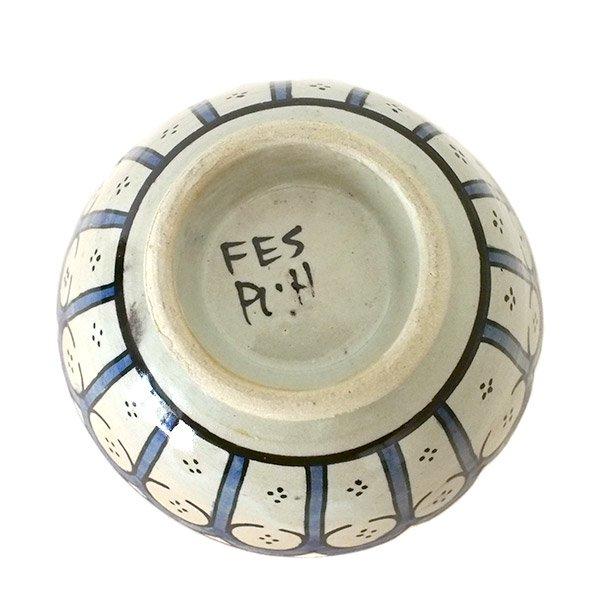 モロッコ フェズ 陶器 ボウル  大(花 ブルー 直径 約14cm)【画像4】