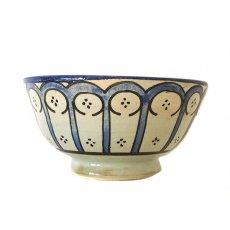 モロッコ フェズ 陶器 ボウル  大(花 ブルー 直径 約14cm)