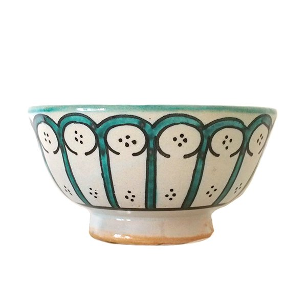 モロッコ フェズ 陶器 ボウル  大(花 ターコイズ グリーン 直径 約14cm)