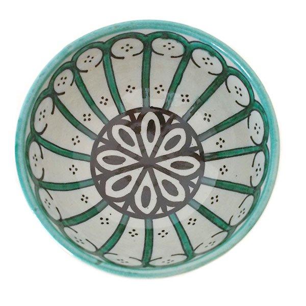 モロッコ フェズ 陶器 ボウル  大(花 ターコイズ グリーン 直径 約14cm)【画像2】