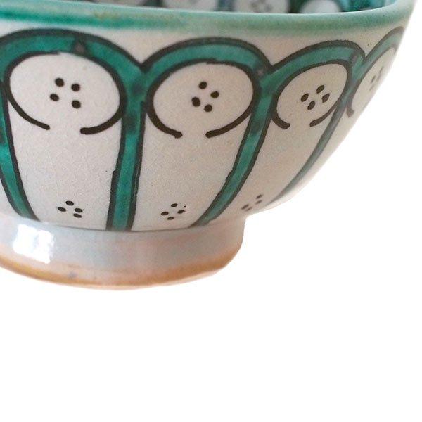 モロッコ フェズ 陶器 ボウル  大(花 ターコイズ グリーン 直径 約14cm)【画像3】