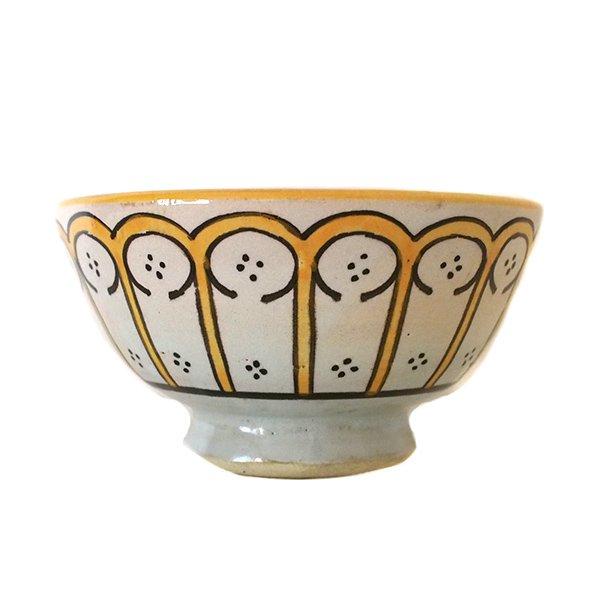 モロッコ フェズ 陶器 ボウル  大(花 オレンジ 直径 約14cm)