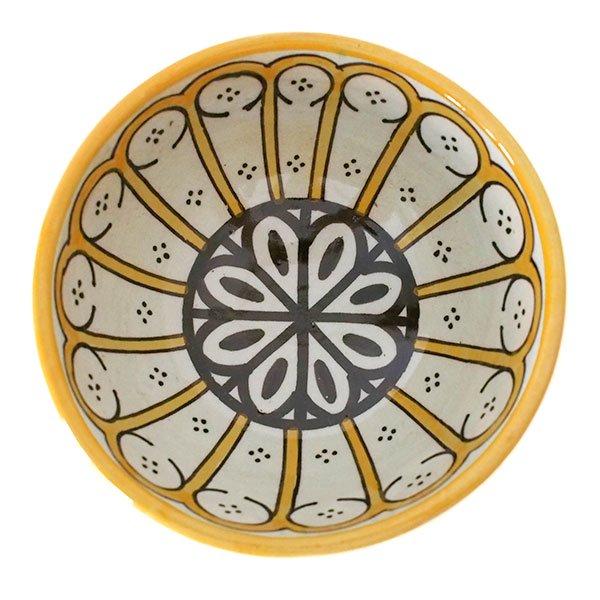 モロッコ フェズ 陶器 ボウル  大(花 オレンジ 直径 約14cm)【画像2】