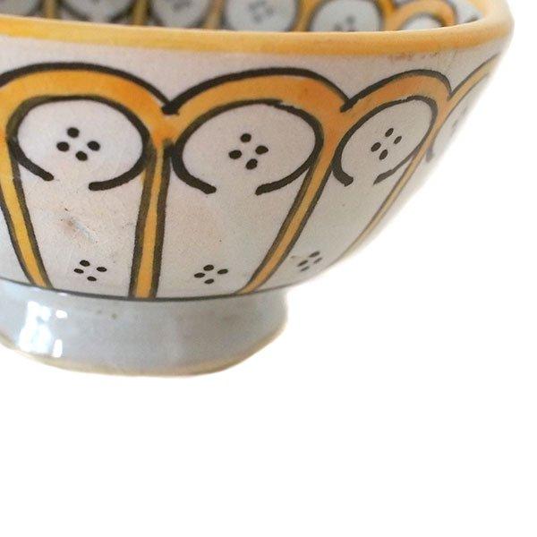 モロッコ フェズ 陶器 ボウル  大(花 オレンジ 直径 約14cm)【画像3】