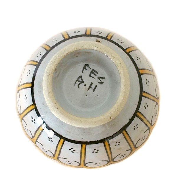 モロッコ フェズ 陶器 ボウル  大(花 オレンジ 直径 約14cm)【画像4】