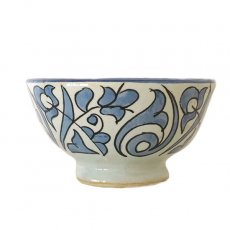 モロッコ・チュニジア 雑貨 モロッコ フェズ 陶器 ボウル  大(植物 ブルー 直径 約14cm)