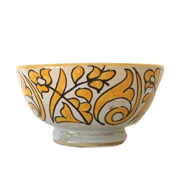 モロッコ フェズ 陶器 ボウル  大(植物 オレンジ 直径 約14cm)