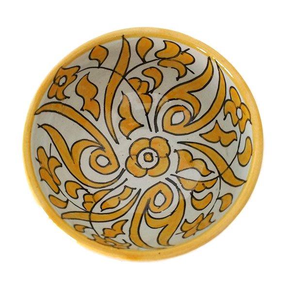 モロッコ フェズ 陶器 ボウル  大(植物 オレンジ 直径 約14cm)【画像2】