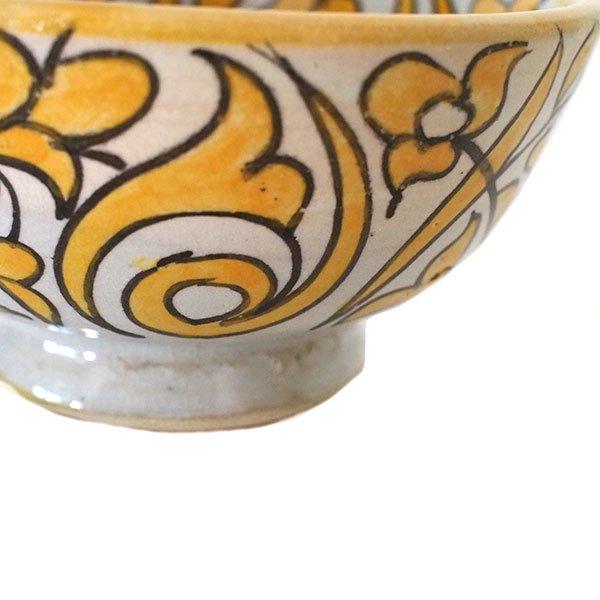 モロッコ フェズ 陶器 ボウル  大(植物 オレンジ 直径 約14cm)【画像3】