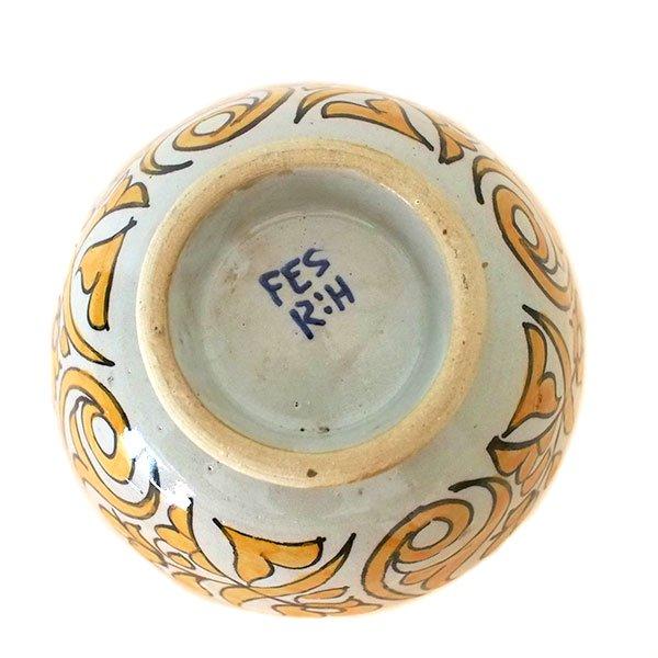 モロッコ フェズ 陶器 ボウル  大(植物 オレンジ 直径 約14cm)【画像4】