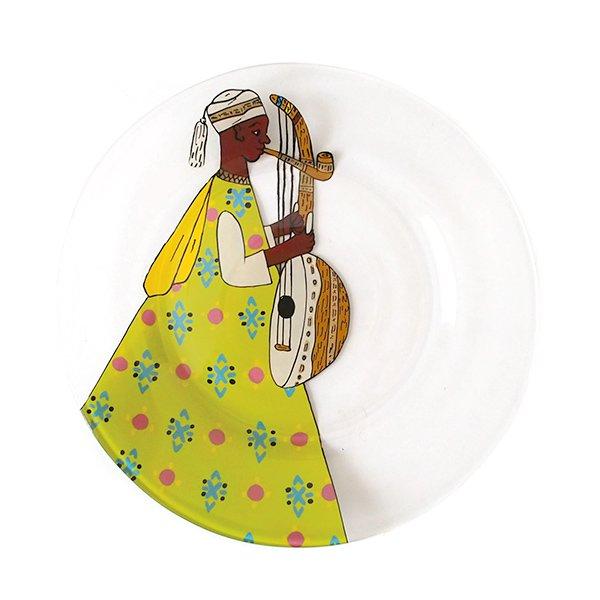 セネガル ガラス 絵皿 スウェール(楽器 民族衣装 キミドリ 直径 約19cm)