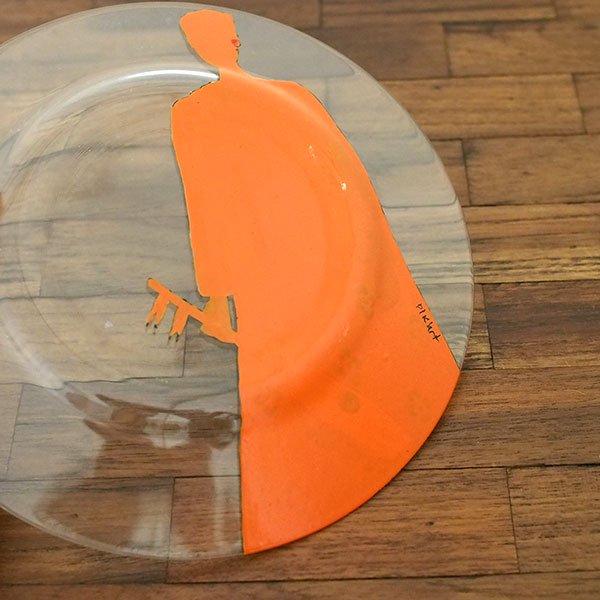 セネガル ガラス 絵皿 スウェール(楽器 民族衣装 オレンジ 直径 約19cm)【画像4】