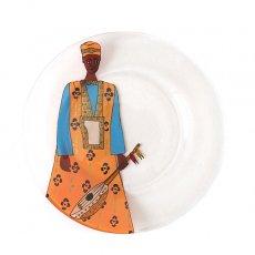 セネガル ガラス絵 皿(楽器 オレンジ 直径 約19cm)
