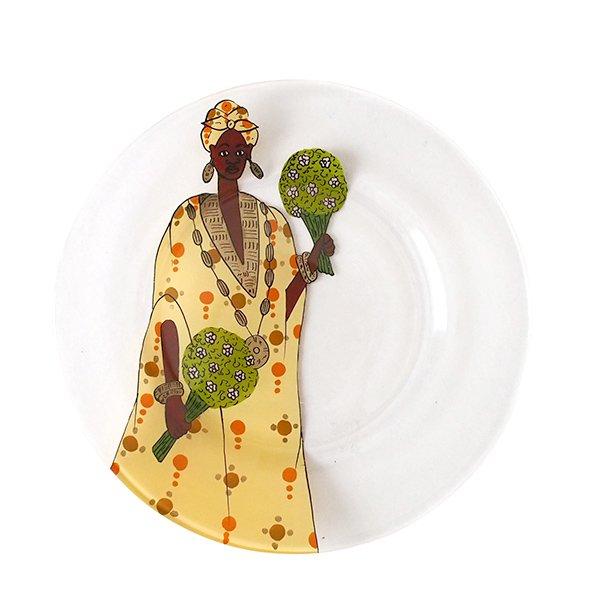 セネガル ガラス絵 皿(花束 イエロー  直径 約19cm)