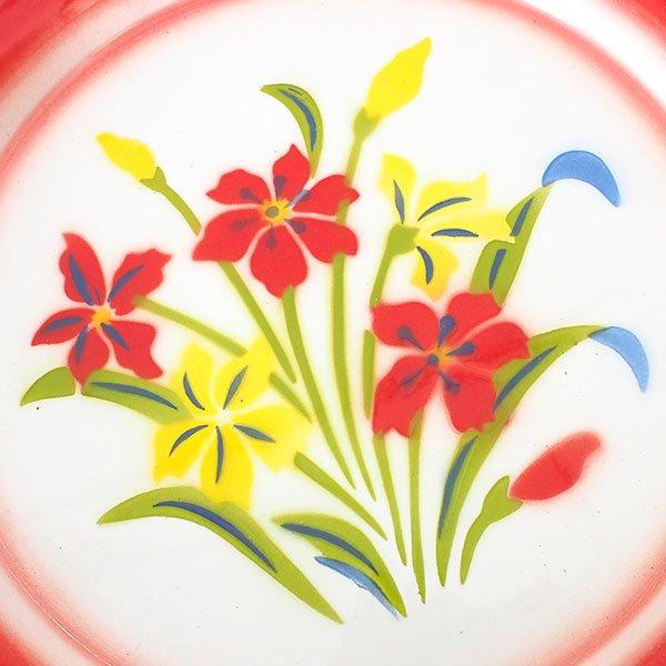 タイ ホーロー トレー  レトロ 花柄 A 直径 約25cm【RABBIT BRAND】【画像2】