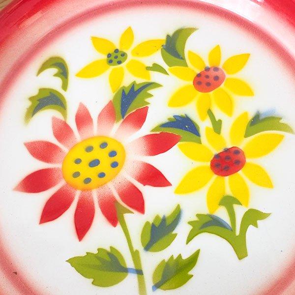 タイ ホーロー トレー  レトロ 花柄 B 直径 約25cm【RABBIT BRAND】【画像3】