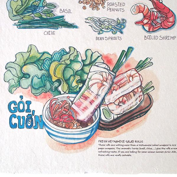 ベトナム アート ポスター【Yummy  Goi Quon 生春巻き】【画像3】