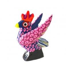 トリ (鳥) 雑貨 メキシコ ウッドカービング アレブリヘス(ニワトリ ピンク)