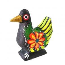トリ (鳥) 雑貨 メキシコ ウッドカービング アレブリヘス(鳩 ブラック)