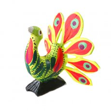 トリ (鳥) 雑貨 メキシコ ウッドカービング アレブリヘス(クジャク グリーン)