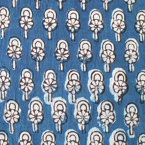 インド 泥染め布(インディゴ  ボタニカル B 幅約108cm/ 1m切り売り)