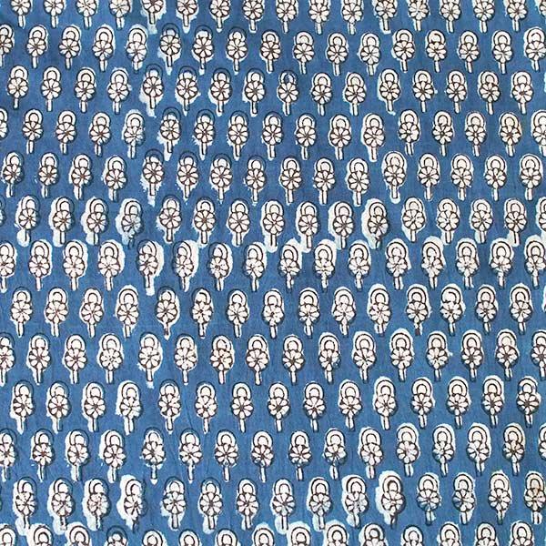 インド 泥染め布(インディゴ  ボタニカル B 90cm切り売り 幅約108cm)【画像2】