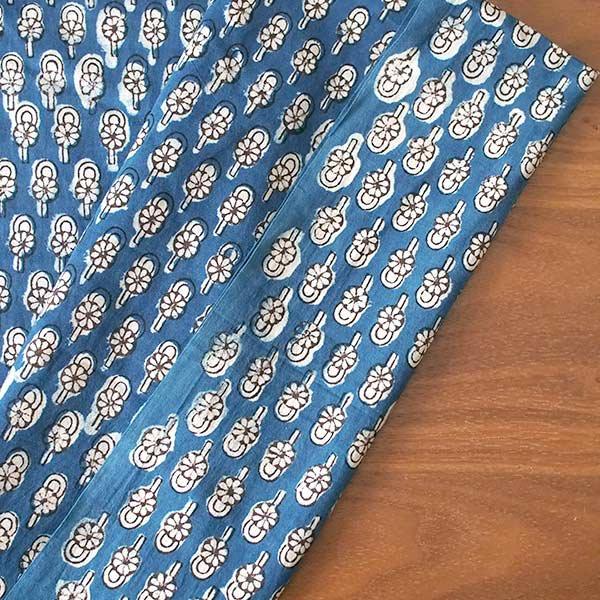 インド 泥染め布(インディゴ  ボタニカル B 90cm切り売り 幅約108cm)【画像4】