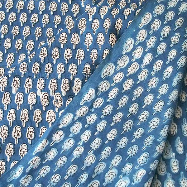 インド 泥染め布(インディゴ  ボタニカル B 90cm切り売り 幅約108cm)【画像5】