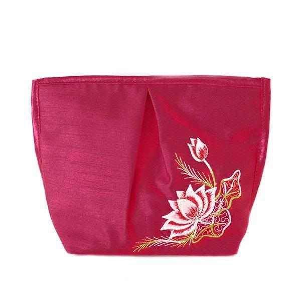 ベトナム 蓮の花(ロータス) 刺繍 ポーチ(レッド)
