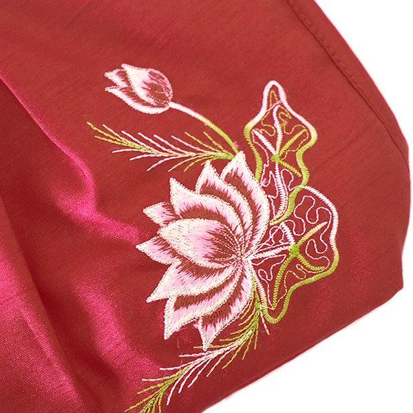 ベトナム 蓮の花(ロータス) 刺繍 ポーチ(レッド)【画像4】