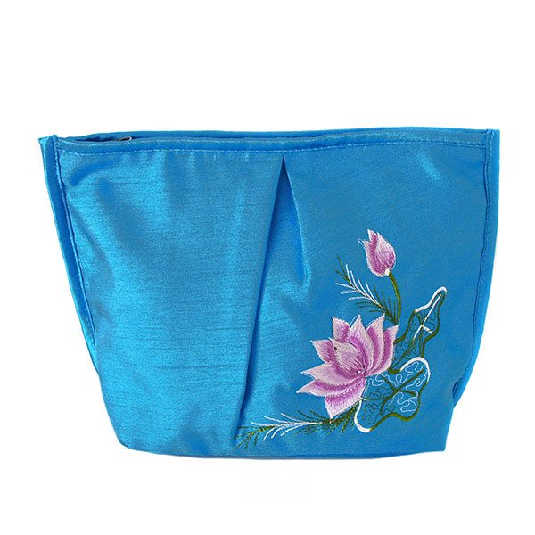 ベトナム 蓮の花(ロータス) 刺繍 ポーチ(ブルー)