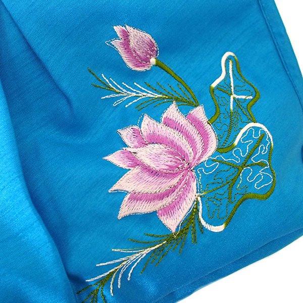 ベトナム 蓮の花(ロータス) 刺繍 ポーチ(ブルー)【画像3】