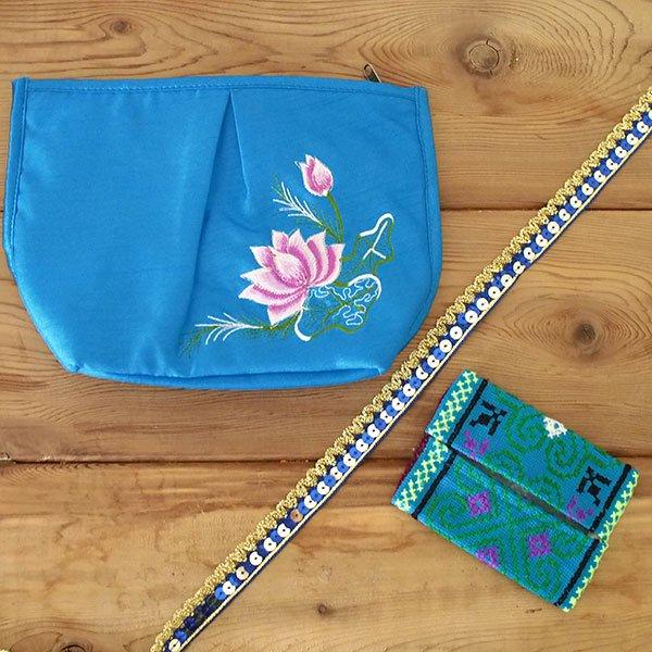 ベトナム 蓮の花(ロータス) 刺繍 ポーチ(ブルー)【画像6】
