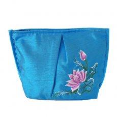 ベトナム刺繍ポーチ・巾着 ベトナム 蓮の花(ロータス) 刺繍 ポーチ(ブルー)
