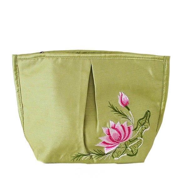 ベトナム 蓮の花(ロータス) 刺繍 ポーチ(キミドリ)