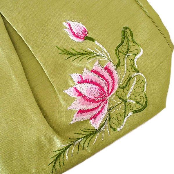 ベトナム 蓮の花(ロータス) 刺繍 ポーチ(キミドリ)【画像5】