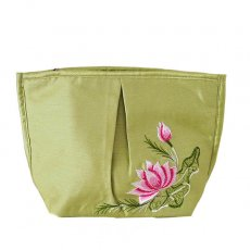 ポーチ ベトナム 蓮の花(ロータス) 刺繍 ポーチ(キミドリ)