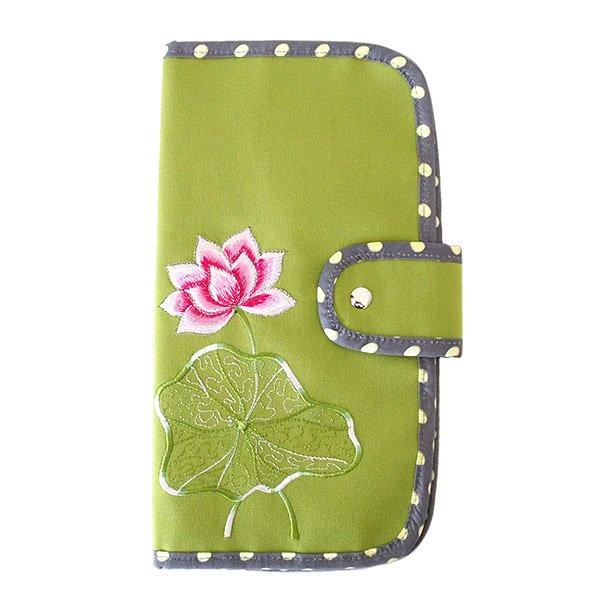 ベトナム 蓮の花(ロータス) 刺繍 パスポート&カードケース (キミドリ)
