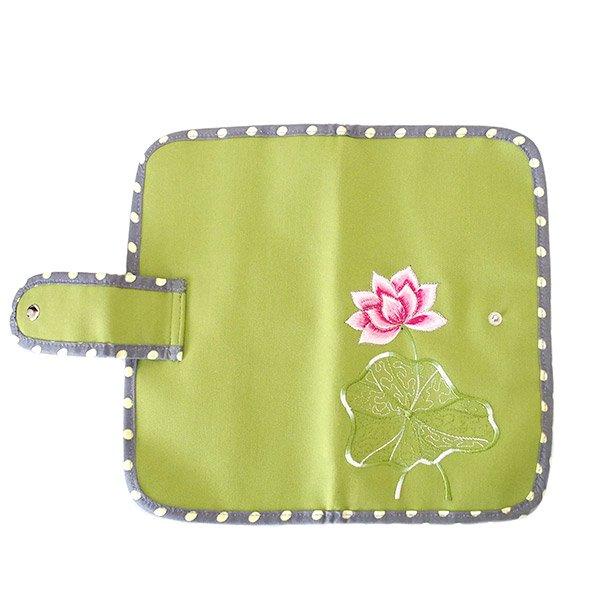 ベトナム 蓮の花(ロータス) 刺繍 パスポート&カードケース (キミドリ)【画像2】