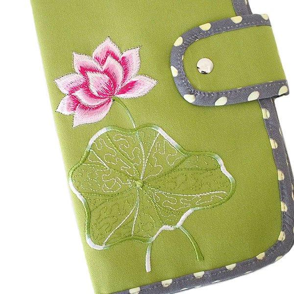 ベトナム 蓮の花(ロータス) 刺繍 パスポート&カードケース (キミドリ)【画像3】