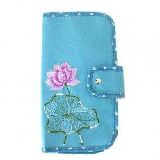 ポーチ ベトナム 蓮の花(ロータス) 刺繍 パスポート&カードケース (ブルー)