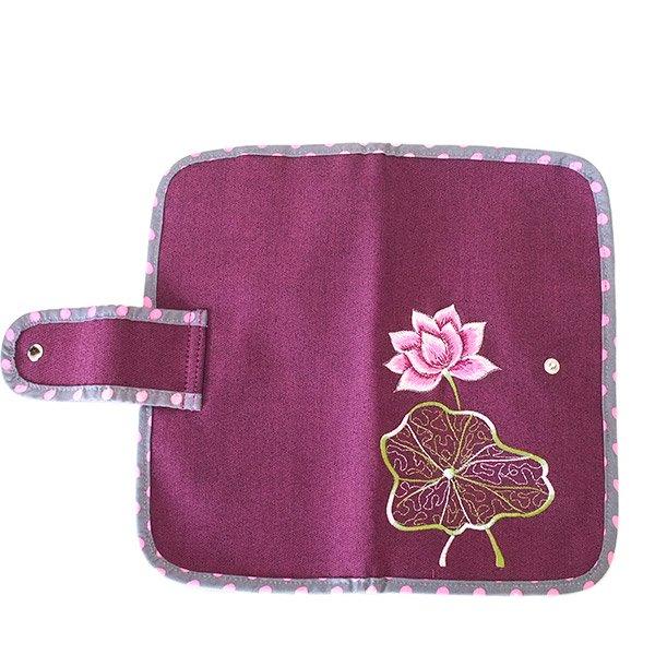 ベトナム 蓮の花(ロータス) 刺繍 パスポート&カードケース (パープル)【画像2】